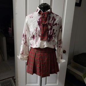 Halloween zombie school girl costume small